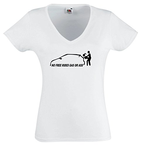 Black Dragon - T - Shirt Woman V - Tee white - No free rides - gas or ass - L - JDM / Die cut (Ass Womens Cut T-shirt)