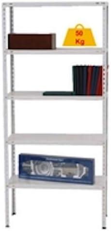 Homelux 999556 Kit Estantería Metálico 4 Baldas, Blanco, 150 x 75 x 30 cm
