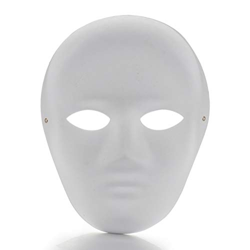 Yugust DIY Unpainted White Mask, 12 PCS Paper Full Face Opera Masquerade Masks with Elastic Rope, Unisex Blank Painting Paper Mask for Halloween Mardi Gras Dance Cosplay (6pcs Male and 6pcs Female) -