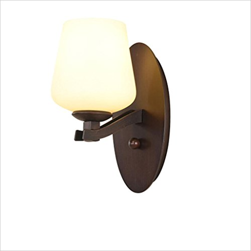AIDELAI American Retro Iron Lamp Living Room Bedroom Light Background Wall Lamp European Simple Mirror Front Lamp Aisle Light Style Simple Wall Lamp (Iron Weeks Sconce)