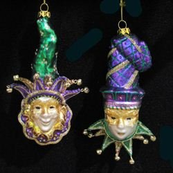 Kurt Adler Noble Gems Glass Mardi Gras Mask Ornament Set