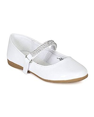 Little Angel Kelly-767E Girls Patent Leatherette Round Toe Rhinestone Mary Jane Ballerina Flat (9) -