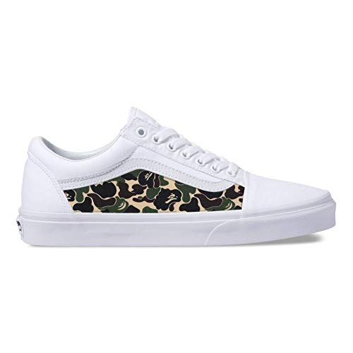 ce51f059cce Amazon.com  Vans White Old Skool x Bape Custom Handmade Uni-Sex Shoes By  Patch Collection  Handmade