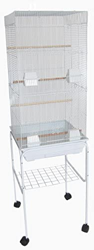 YML 6824 3 8 Bar Spacing Tall Flat Top Bird Cage with Stand