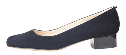 Pump Chunky Shoes suede Suede Dress Black Toe Comfort Elegant C Heel Genuine Leather Women's Low Almond queenfoot Style T6wOE1