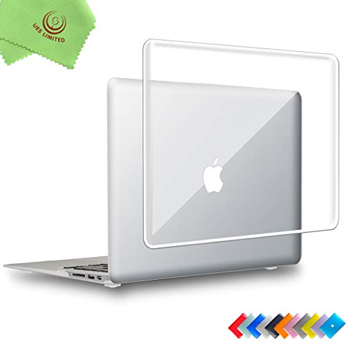 UESWILL Glossy See Through Crystal Clear Hard Shell Case Cover for 2008-2017 MacBook Air 13 inch (Model: A1466/A1369) + Microfibre Cleaning Cloth, Clear (Macbook Air Case Glossy)