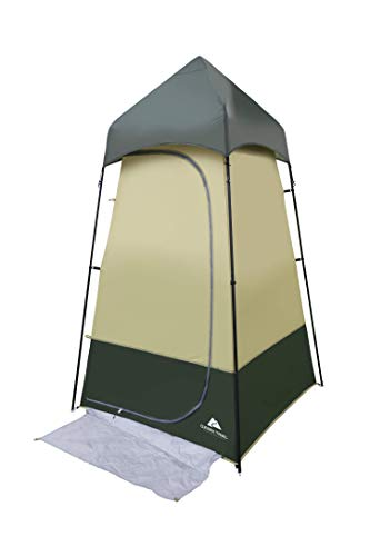 (Durable,Convenient and Versatile Ozark Trail Hazel Creek Lighted Shower Tent,with Integrated Mud Mat,Mesh Pocket,Gear Loft with Pocket for LED Light (Included),Hanging Shelf,Webbing,Green)
