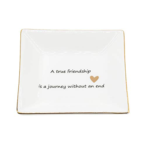 - JPCRAFT Jewelry Trinket Tray Ring Dish Holder for Women and Girls A True Friendship is a Journey Without an End