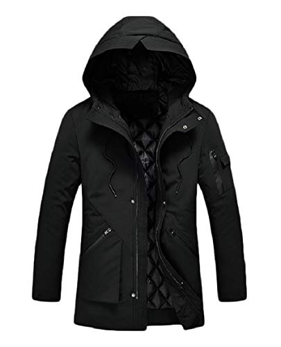 Casual Thickened Windproof Outdoor Hooded Mens RkBaoye Black Coat Pocket Zipper wSXnYq