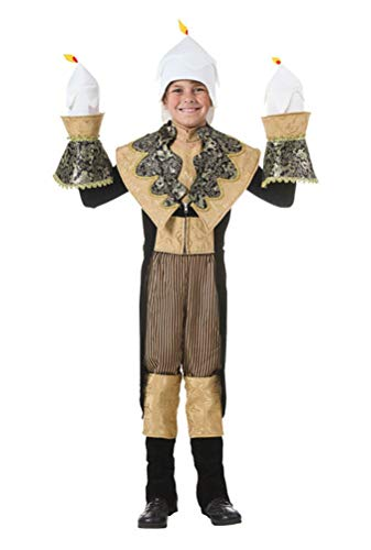 COSKING Lumiere Costume for Boys, Deluxe Kids Halloween Movie Cosplay Outfit (One Average Size)