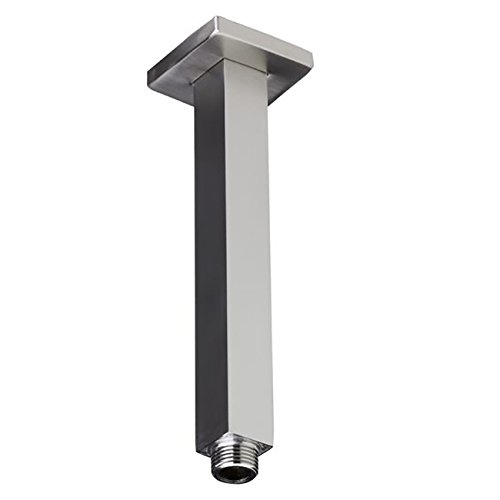 Ceiling Mount Square Shower Arm with flange cover by Serene Steam (6 Inch, Polished Chrome)