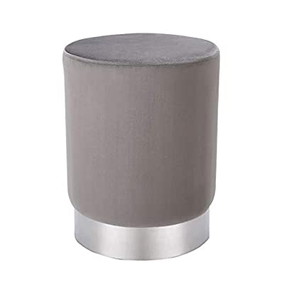 BIRDROCK HOME Round Grey Velvet Ottoman Foot Stool - Soft Compact Padded Stool - Great for The Living Room, Bedroom and Kids Room - Small Furniture