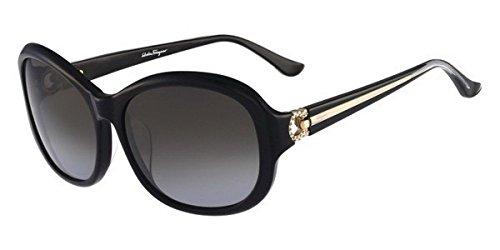 SALVATORE FERRAGAMO SF740SRA 001 BLACK WITH GRAY GRADIENT LENS WOMENS SUNGLASSES -