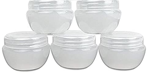 5-Pack White Frosted Cosmetic Empty Refillable Container, 15 Gram / 15ml / 0.5oz Plastic Makeup Cosmetic Jar / Pot / - Makeup Jars