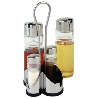 WIN-WARE Complete Cruet Set and Stand / Table Organiser. Inlcudes Vinegar Jars, Salt and Pepper shakers (with stainless steel lids) and a stand to hold it all