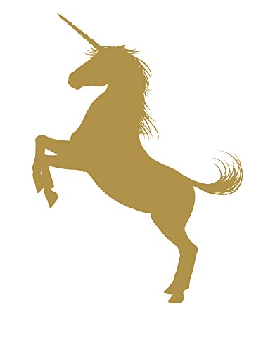 Girl Silouette (Unicorn Wall Decal Sticker. Gold Color, Large 45in Tall X 33in Wide. Fantasy Silhouette Design for Girl's Bedroom Decor. #6108m-45x33-GOLD-Rev. Facing Left)
