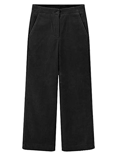 Gooket Women's Casual Stretch Wide Leg Corduroy Pants Loose Straight Leg Ankle Pant Trousers Black Tag 6XL-US 18
