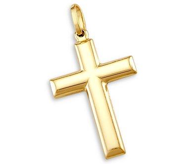 14k Yellow Gold Cross Crucifix Pendant Charm Plain 1″