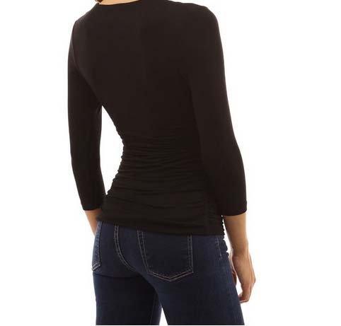 T Fronc Couleurs Sexy Chemise Shirt Noir 4 Femme V Col ACVIP Manche 3 4 Elastique T5ORxzqW