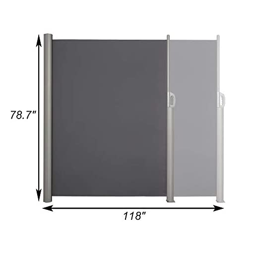 Garden and Outdoor Vilobos Patio Side Awning Wall Mounted Retractable Waterproof Sun Shade Screen Room Divider with Aluminium Pole -Grey… patio awnings