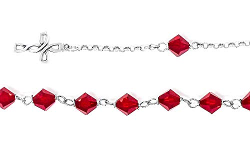 925 Red Swarovski Crystal Rosary Bracelet & Lourdes Prayer Card