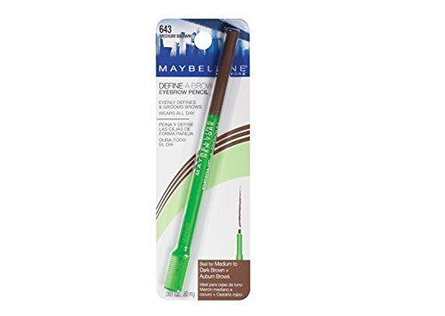 Maybelline Define-A-Brow Eyebrow Pencil, Medium Brown [643], 1 ea (Pack of 4)