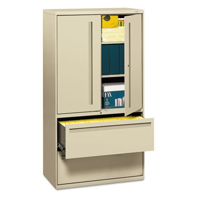 700 Series Lateral File w/Storage Cabinet, 36w x 19-1/4d, Putty, Sold as 1 Each