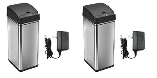 iTouchless nrEsMb, 2 Set (Stainless Steel Trash Can with AC Adapter, Touchless Sensor Lid and Odor Filter Deodorizer)