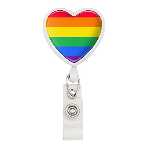 (Rainbow Pride Gay Lesbian Contemporary Heart Lanyard Retractable Reel Badge ID Card Holder - White)