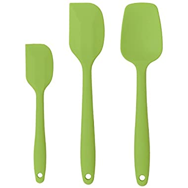 Cooptop Premium Silicone Spatula Set of 3 - Heat Resistant Baking Spoon & Spatulas - Pro Grade Non-stick Silicone with Steel Core(Grass Green)