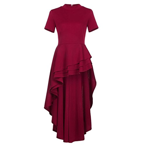 WYTong Women's Dress, Ladies Short Sleeve Asymmetrical Ruffles Dress Back Zipper For Evening Cocktail Party