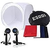 ESDDI 24''x24''/60x60 cm Light Tent Kit hooting Tent Light Photo Video Cube Softbox Kit with 4 Colors Backdrops,2 x 50w Studio Light and a mini tripod for Photography