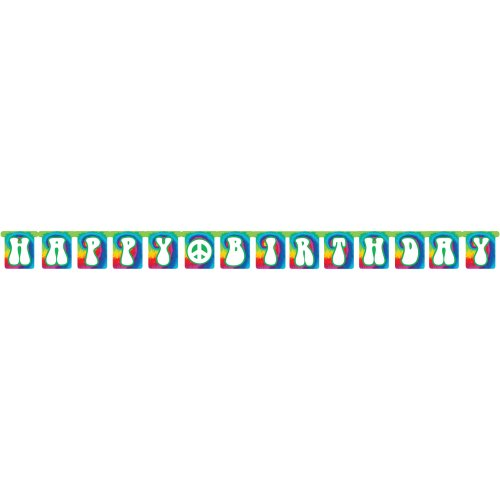 Creative Converting Tie Dye Fun Happy Birthday Jointed Party Banner ()