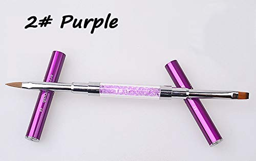 1Pcs Crystal Rhinestone Flat Paiting Drawing Lines Brush Pen DIY Salon Nail Tools NO 2 Purple