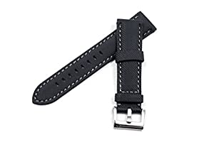 WatchAssassin Fabric Sail-cloth/Canvas-style Padded Black Watch Strap 18 20 22 24 26mm