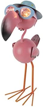 Metal Art Flamingo in Hat and Glasses Solar Eyes LED Light Garden Statue, Pink