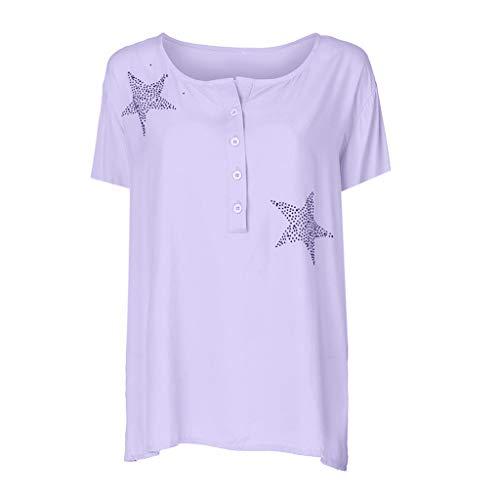 Eaktool Women's Scoop Neck A-Line Tunic Blouse Striped Off Shoulder Bell Sleeve Shirt Tie Knot Casual Blouses Purple