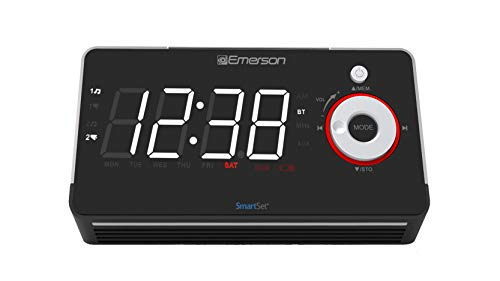 Emerson Radio ER100113 Smartset Alarm Clock Radio with Type C Quick Charger, Bluetooth Speaker, USB & Nightlight