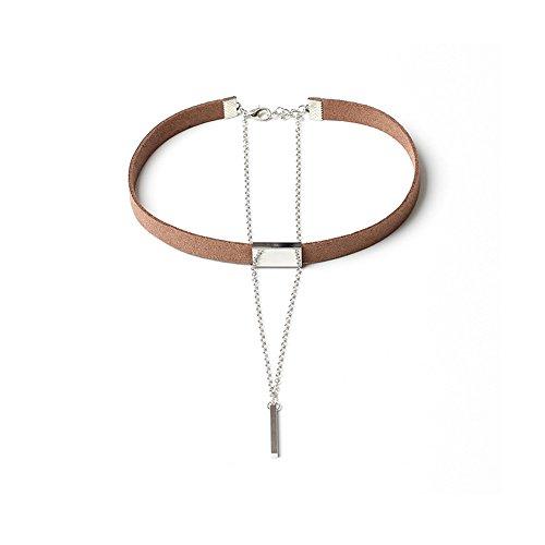 Woman Girl Choker Collar Adjustable Elegant Velvet Ribbon Choker Layered Punk Chain Choker Necklace Pendant (Brown Ribbon White Pendant)