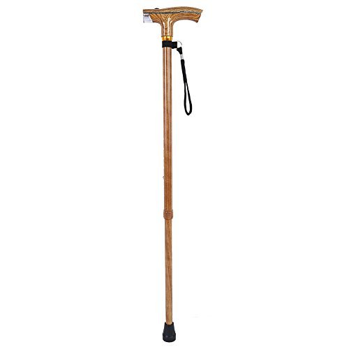 tick with Flashlight and Lanyard Wood-like Alloy Cane for Old People ( Color : Burlywood Color ) ()