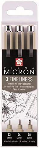 Caja de 3 rotuladores de punta fina Pigma Micron, modelo POXSDK3, de Sakura. Color negro