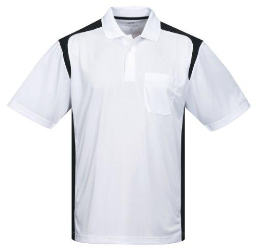 Tri-Mountain Performance K145P Mens 100% Polyester Knit S/S Golf Shirt - White/Black - 3XLT