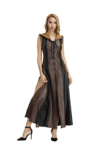 frawirshau Women's Plus Size Faux Leather Steampunk Clothing Archer Hooded Costume for Women, Brown ()