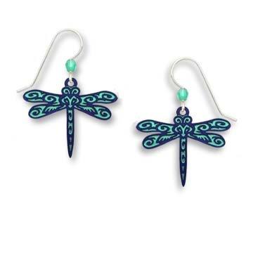 Sienna Sky Teal Dark Blue Maori Pattern Dragonfly Earrings 1706