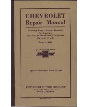 1929 1930 CHEVROLET CAR TRUCK Shop Service Manual
