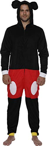 Disney Mickey Men Hooded Union Suit Pajama Costume, Mickey, Size S/M -