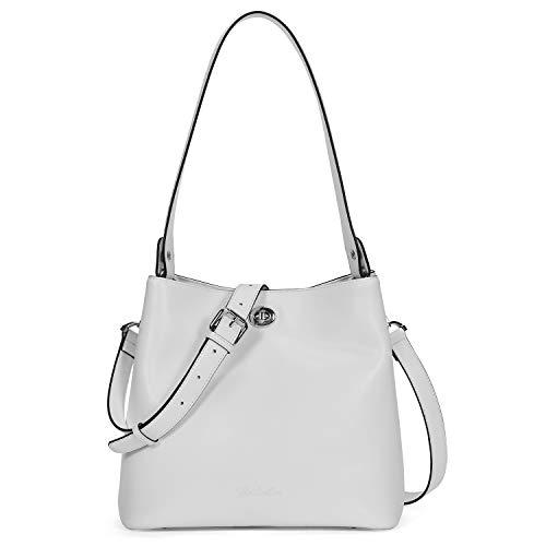 BOSTANTEN Leather Hobo Handbags Designer Bucket Shoulder Bag Tote Crossbody Purses for Women White (Leather Bucket Bags Handbags)