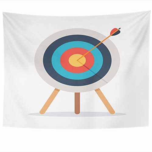Ahawoso Tapestry 60x50 Inches Archery Target Arrow Standing On Tripod Over Goal Achieve White Bullseye Aim Flat Mushrooms Wall Hanging Home Decor Tapestries for Living Room Bedroom Dorm ()