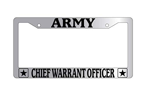 Personalized Frames Army Chief Warrant Officer License Plate Frame, 2 Holes Auto Car License Plate Frame Tag Holder with Screws Caps, Slim Aluminum Metal for US ()