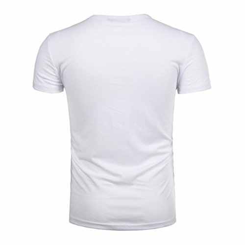 botón de zarupeng de Blusa hombres sólida camiseta camiseta Blanco moda del superior de corta manga los rFtEtn